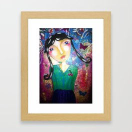 The girl with the butterflyes Framed Art Print