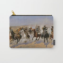 """Frederic Remington Western Art """"Dash For The Timber"""" Carry-All Pouch"""