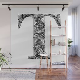 ''City Collection'' - Minimal Letter T Print Wall Mural
