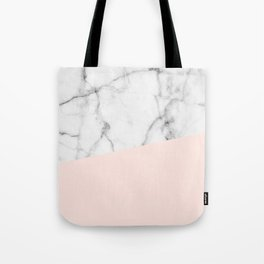 Real White marble Half Salmon Pink Tote Bag