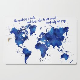 The world is a book, world map in shades of blue watercolor Cutting Board