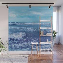 Blue Atlantic Ocean White Cap Waves Clouds in Sky Photograph Wall Mural