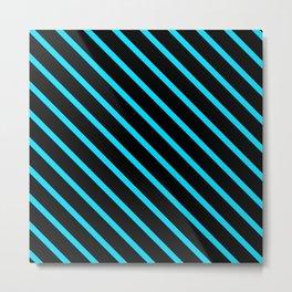 Neon Blue Diagonal Stripes (Black) Metal Print