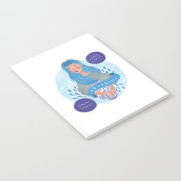 Aquarius Zodiac Illustration Notebook