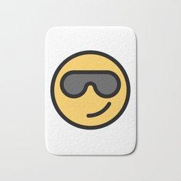 Smiley Face   Cool Sunglasses Happy Face   Cute Grey Glasses Bath Mat