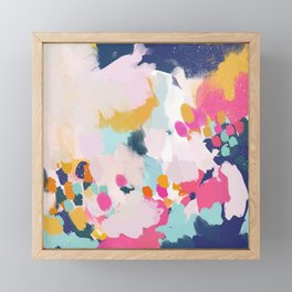 Misty Blooms- abstract - blue , pink and yellow Framed Mini Art Print