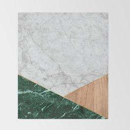 White Marble Green Granite & Wood #138 Throw Blanket