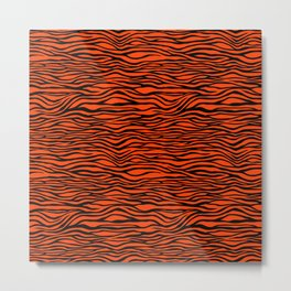 Black and Bright Neon Orange Tiger Stripes Animal Print Metal Print