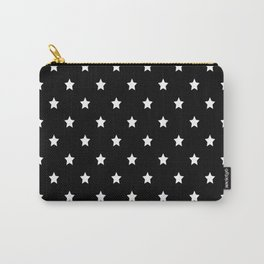 Black Background With White Stars Pattern Carry-All Pouch