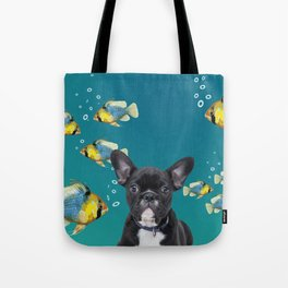 French bulldog with fishes Tote Bag