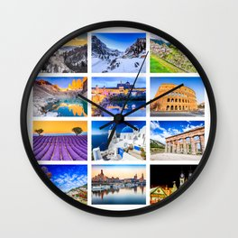 World travel collage Wall Clock