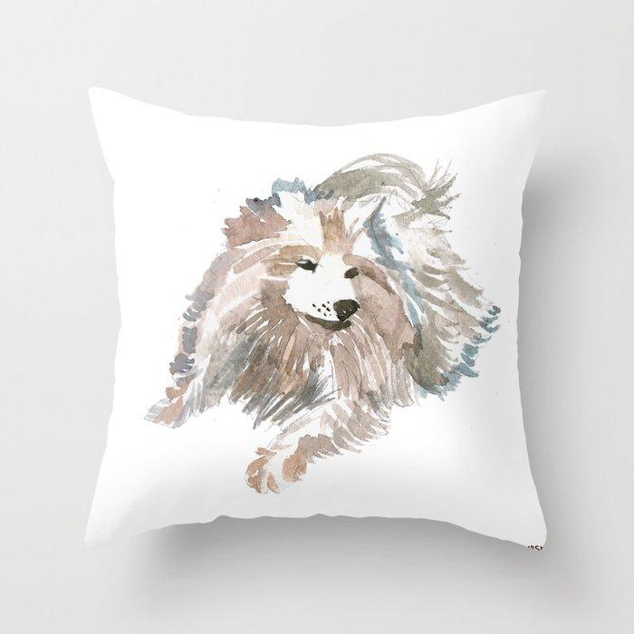 watercolor dog vol 14 samoyed Throw Pillow