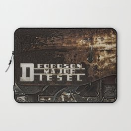 Old Fordson Major Diesel Tractor Emblem on a Rusty Weathered Background Laptop Sleeve