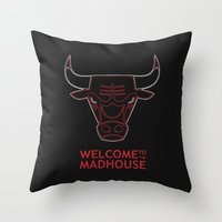 chicago bulls Throw Pillows featuring Madhouse Chicago Bulls by beejammerican