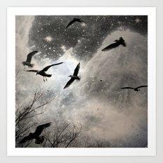Celestial Seagulls Art Print