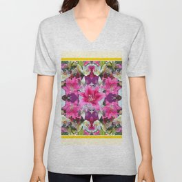 PINK & WHITE LILY GARDEN  YELLOW ABSTRACT Unisex V-Neck