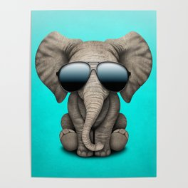 Cute Baby Elephant Wearing Sunglasses Poster