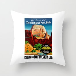 Zion National Park Vintage Poster Throw Pillow