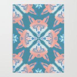 Pastel Fox Pattern Poster