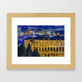 Night Scene Rome Cityscape Aerial View Framed Art Print