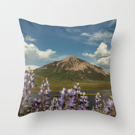 Mount Crested Butte through the Lupines  Throw Pillow
