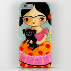 Frida with Black Pug dog by TASCHA iPhone 6 Plus Slim Case
