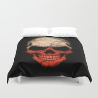 poland Duvet Covers featuring Dark Skull with Flag of Poland by Jeff Bartels