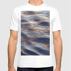 High Sea Textures At Sunset MEDIUM Mens Fitted Tee White