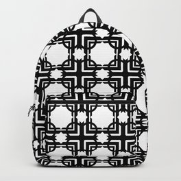 Seamless transparent black and white Geometric Pattern Backpack