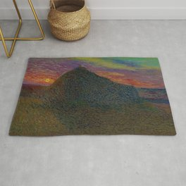 The Evening Haystack at Sunset by Henri Jean Guillaume Martin Rug