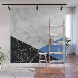 Geometric White Marble - Black Granite & Blue #509 Wall Mural