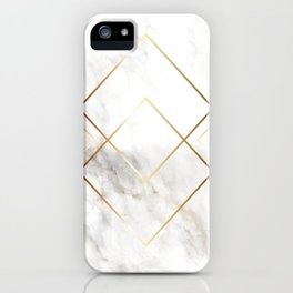 White Marble With Gold Pattern iPhone Case