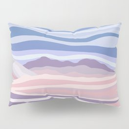 Bohemian Waves // Abstract Baby Blue Pinkish Blush Plum Purple Contemporary Light Mood Landscape  Pillow Sham