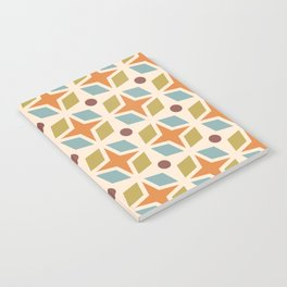 Mid Century Modern Abstract Star Dot Pattern 441 Orange Brown Blue Olive Green Notebook