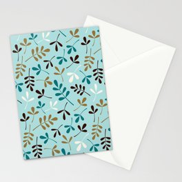 Assorted Leaf Silhouettes Teals Cream Brown Gold Ptn Stationery Cards