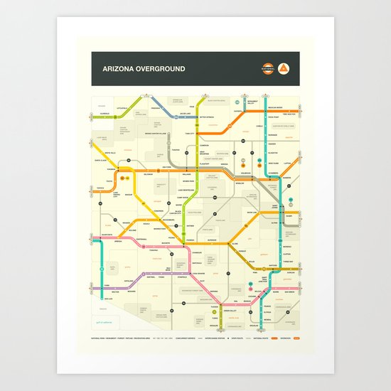 ARIZONA HIGHWAY MAP Art Print
