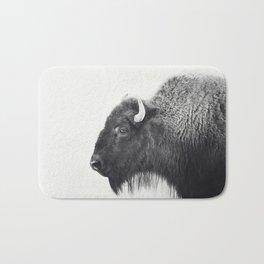 Buffalo Photograph in Black and White Bath Mat