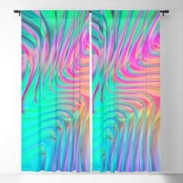 Abstract Colorful Waves Blackout Curtain