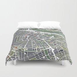 Amsterdam city map engraving Duvet Cover