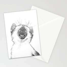 Black and White Sleepy Kitten Stationery Cards