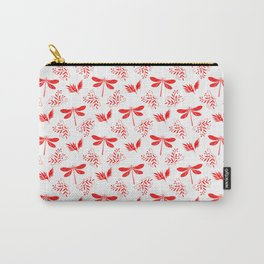 Pretty beautiful cute red dragonflies, delicate little leaves elegant white classy nature pattern Carry-All Pouch