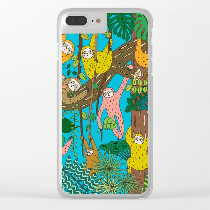 Happy Sloths Jungle Clear iPhone Case