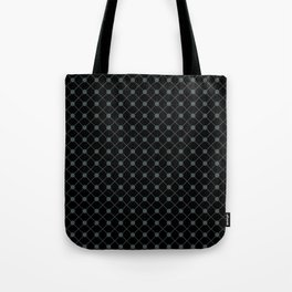 PPG Night Watch Pewter Green Thin Line Stripe Grid (Pinstripe) and Polka Dots on Black Tote Bag