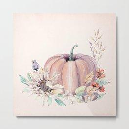 Autumn Pumpkin Cream Metal Print