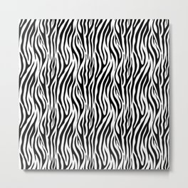 Thick Black and White Tiger Stripes Animal Print Metal Print