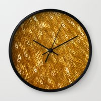gold glitter Wall Clocks featuring Gold Glitter 1324 by Cecilie Karoline