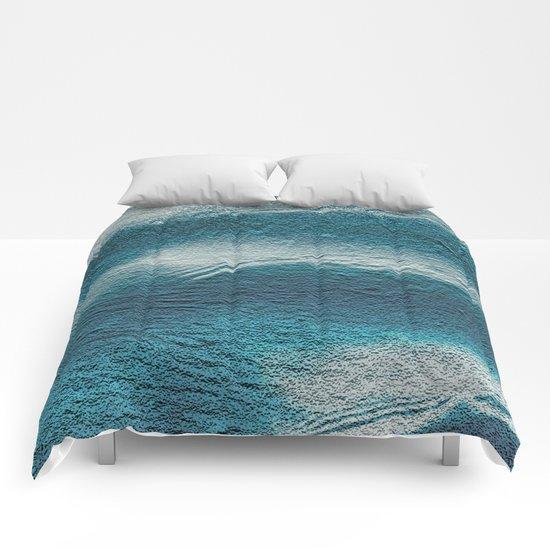 Blue silver waves on metal grunge look Comforters