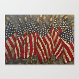My Country Tis of Thee American Flags Canvas Print