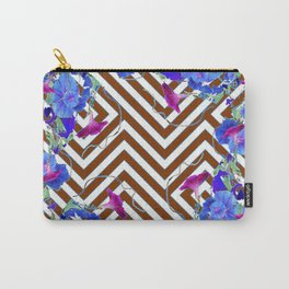 Coffee Brown Blue Morning Glories Abstract Pattern garden  Art Carry-All Pouch