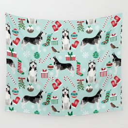 Siberian Husky christmas festive holiday gifts for husky owners by pet friendly Wall Tapestry